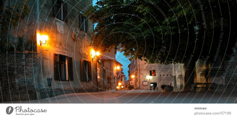 Old Vacation & Travel Calm Street Dark Moody Lighting Europe Derelict Lantern Past Cobblestones Night Street lighting Dusk Croatia