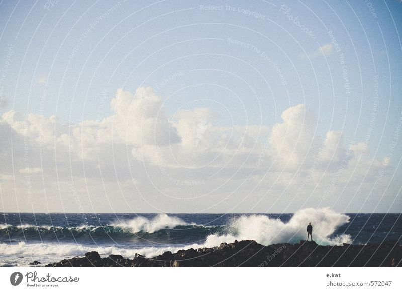 Human being Sky Nature Vacation & Travel Blue White Water Relaxation Ocean Landscape Clouds Beach Life Masculine Waves Wind