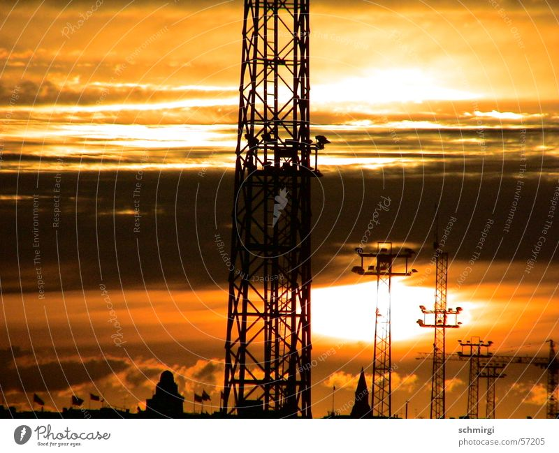 Sky Sun Black Clouds Yellow Moody Brown Orange Industry Electricity pylon High voltage power line