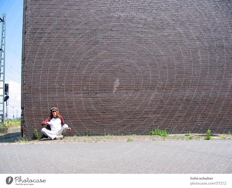 Man Wall (building) Stone Wall (barrier) Brown Asphalt Cap Train station