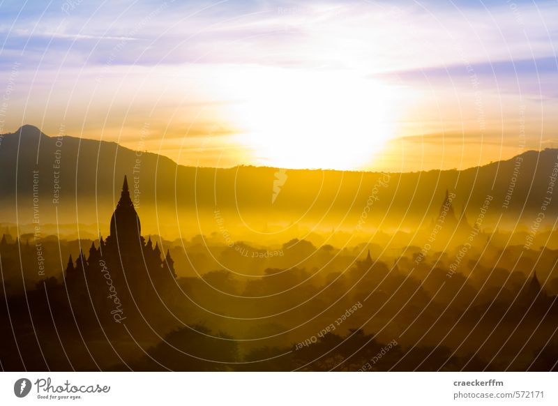 Bagan Joy Tourism Adventure Far-off places Freedom Sightseeing Summer Sun Nature Clouds Sunrise Sunset Sunlight Beautiful weather Forest Mountain Observe