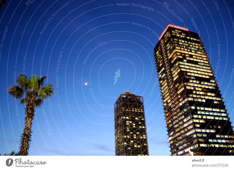 Blue House (Residential Structure) Dark High-rise Moon Palm tree Barcelona Mapfretower Hotel Arts