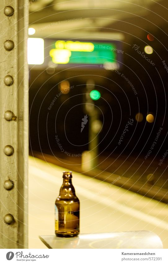 night an earth Beverage Beer Bottle Alcoholic drinks Sightseeing Night life Town Deserted Train station Means of transport Public transit Commuter trains