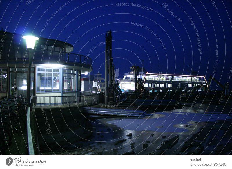 Water Blue Winter Loneliness Dark Lake Lighting Wet Transport Logistics Construction site Harbour Night sky Navigation Mystic