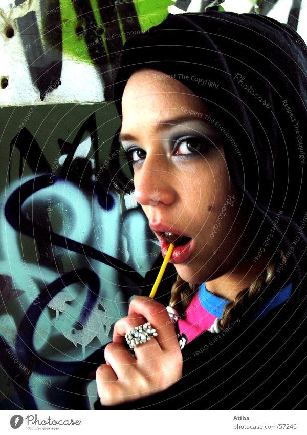 candygirl Feminine Woman Candy Cattle Hip-hop Make-up Braids Factory Wall (barrier) Lips Graffiti Close-up Face