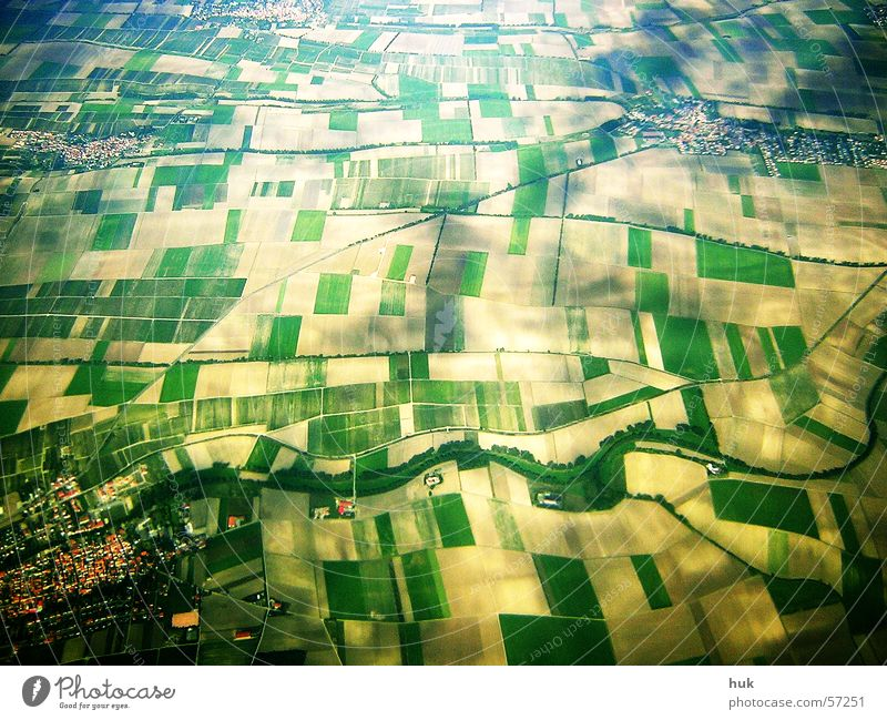 """""""small-minded"""" view from above Field Village Bird's-eye view Yellow Green Checkered Pattern Looking Earth Structures and shapes Above Aerial photograph Shadow"""
