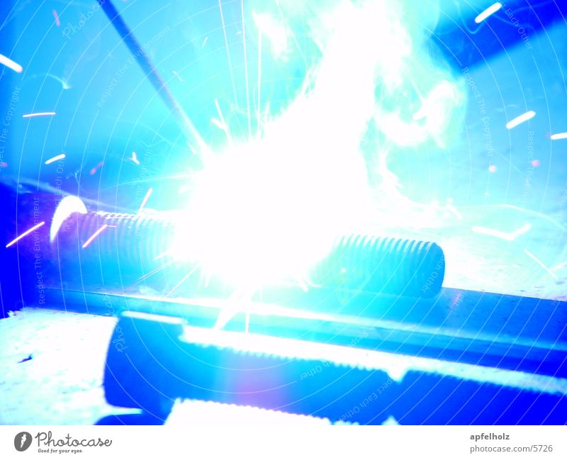 welding in blue Light Electrical equipment Technology Work and employment Metal sweat Blue