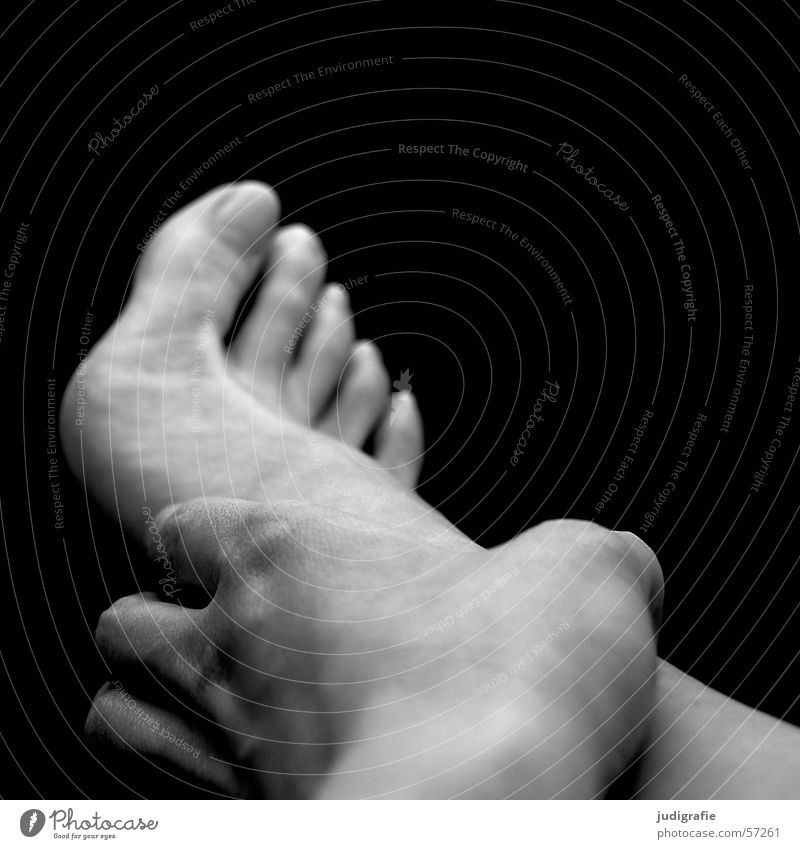 Hand and foot Woman Toes Fingers Touch Black White Feet Skin Human being Barefoot