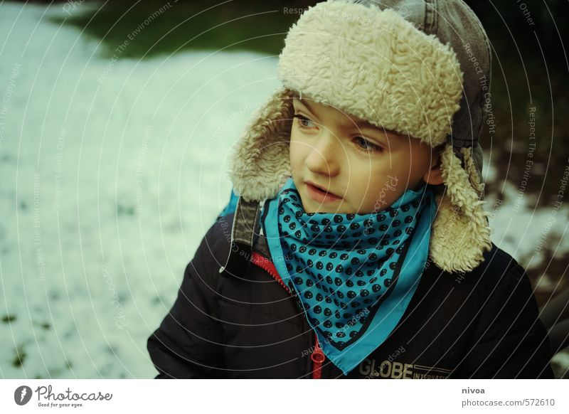 Human being Child Winter Face Snow Boy (child) Ice Park Infancy Stand Smiling Mouth Clothing Nose Observe Cute