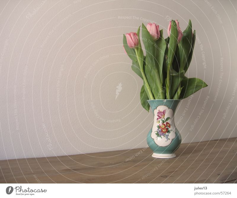 tulips Vase Flower Tulip Multicoloured Pink Table Brown Wall (building) Green Partially visible Kitsch Crockery