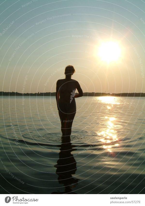 Silouette in the evening sun Evening sun Waves Sunset silouette