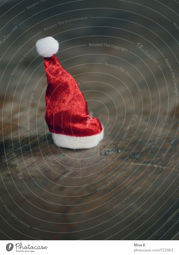 tail Decoration Christmas & Advent Cap Small Red Moody Anticipation Santa Claus hat Point Christmas decoration Wood Table decoration Wooden table Tuft