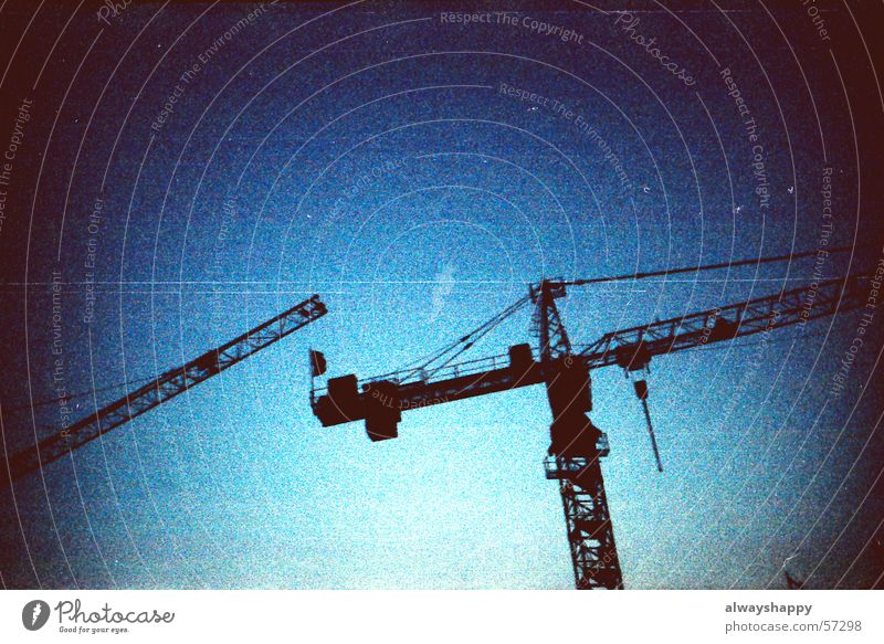 Sky Dark Threat Construction site Crane Vintage Pixel Cross processing Grainy