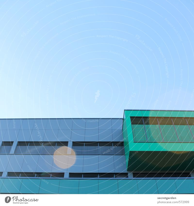 light points. Cloudless sky Beautiful weather Manmade structures Building Architecture Facade Oriel Illuminate Sharp-edged Glittering Modern Blue Green
