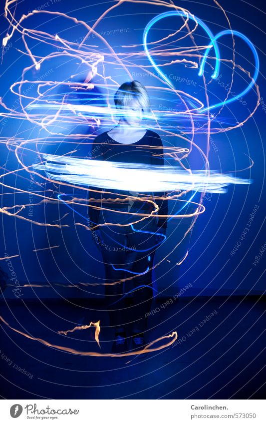 light painting Human being Feminine Young woman Youth (Young adults) Life 1 18 - 30 years Adults Artist Painter Work of art Blonde Short-haired Part Candle