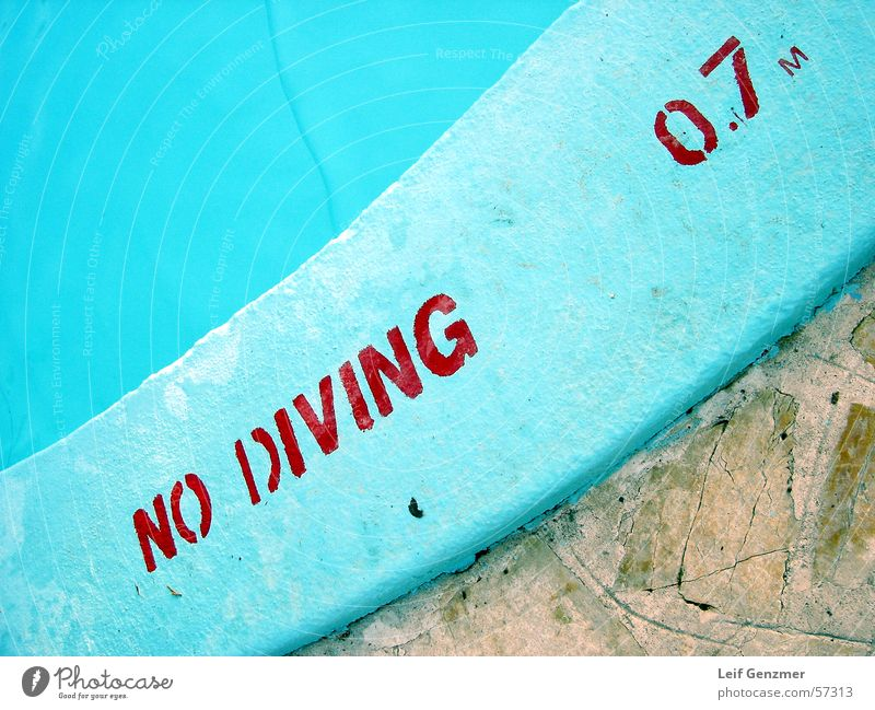 no diving at all Turquoise Swimming pool Dangerous Bans Threat Level Respect no jumping