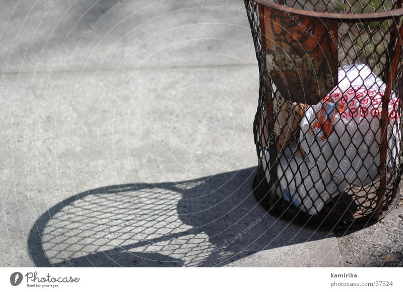 basket Trash Americas Grating paper body wastebasket Trashy litter Graffiti Rust Loudspeaker Street