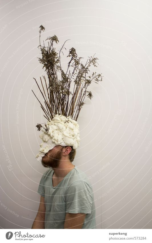 shrub head Artist Exhibition Museum Mask Disguised Hat Helmet Envelop Wood Old White Emotions Moody Virtuous Vice Humble Cowardice False Ignorant Costume Hide