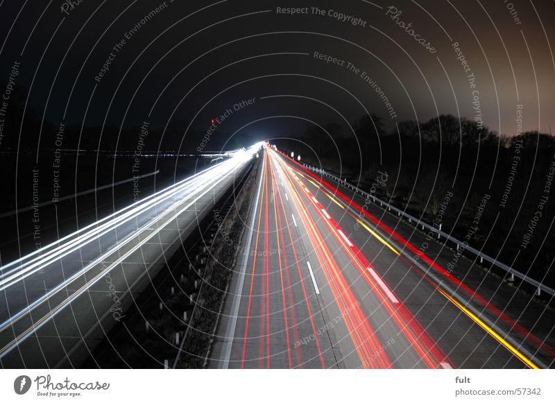 A1 in the night Highway Long exposure Light Stripe Tar Rear light State expressway Lamp Street Speed.