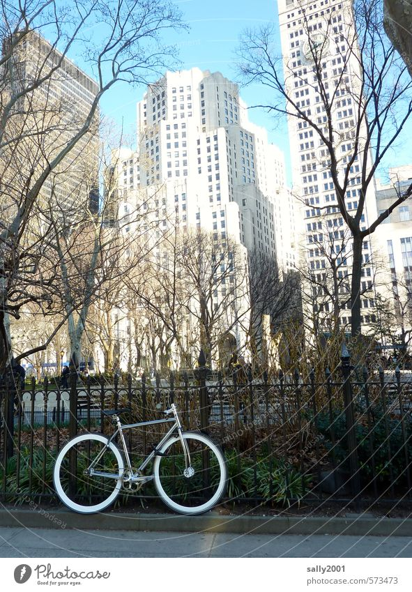 NYC bike tour New York City USA Americas Downtown Skyline Deserted High-rise Building Facade Cycling Sidewalk Bicycle Movement Discover Driving Stand Wait