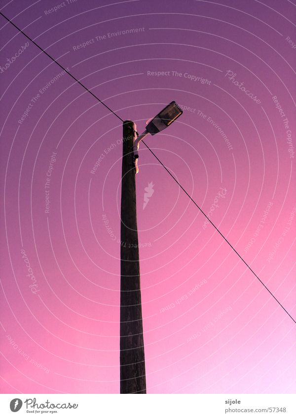 Sky White Blue Street Lamp Line Lighting Pink Cable Violet Lantern Electricity pylon Street lighting Pole Roadside Color gradient