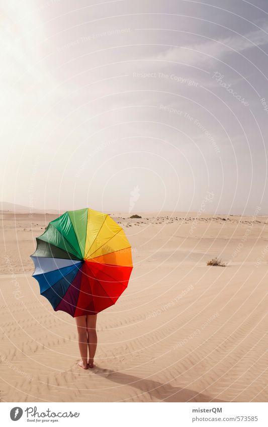 I.love.FV XXIV Art Esthetic Contentment Desert Prismatic colors Umbrella Contrast Multicoloured Beach dune Heaven Sky Creativity Idea Illustration Loneliness
