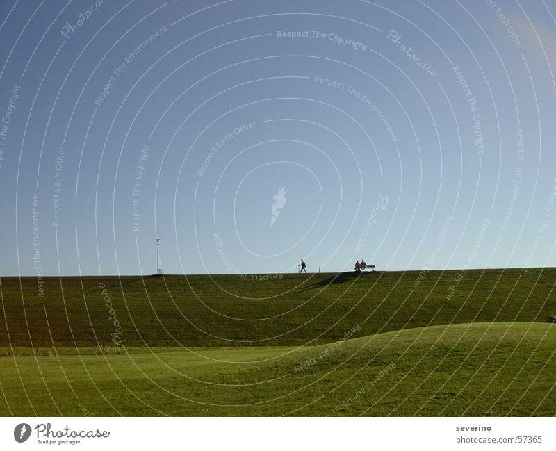 Sky Green Blue Lamp Meadow Hiking To go for a walk North Sea Dike