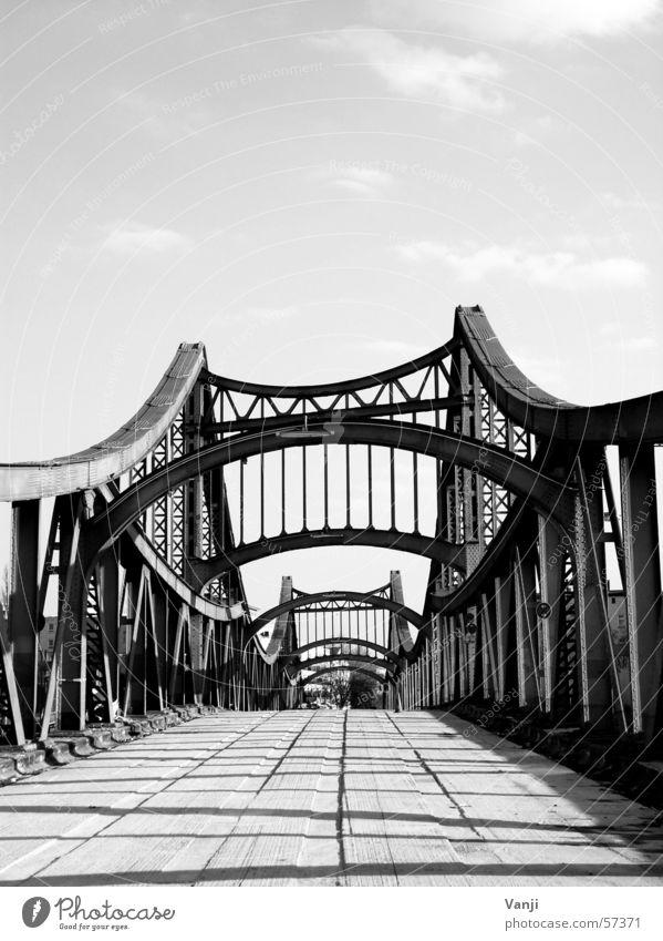 million-dollar bridge Steel Pedestrian Spider's web Manmade structures Loneliness Bridge Derelict Black & white photo Sky Railroad crossing Lanes & trails