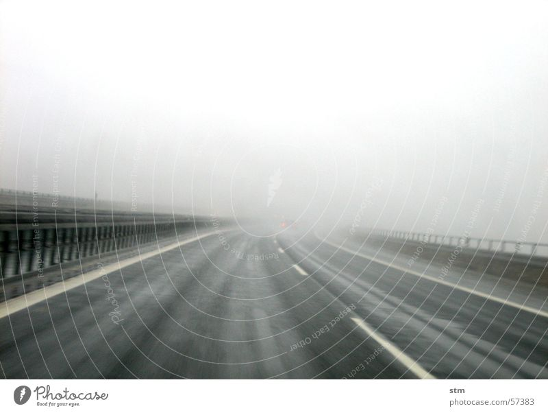 lost Vacation & Travel Far-off places Fog Rain Street Highway Stripe Movement Driving Gray Tracks Drizzle Smoothness Exterior shot