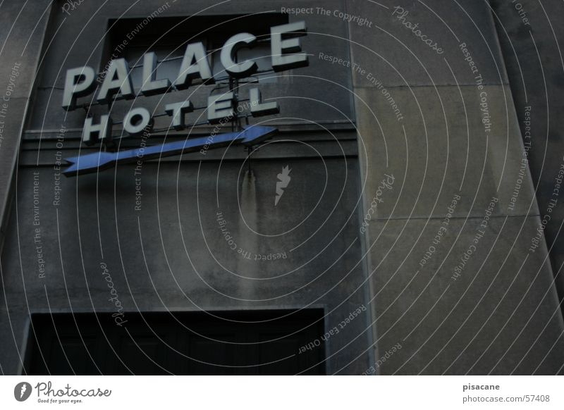 palace hotel Hotel Accommodation Dark Neon sign House (Residential Structure) Facade Display