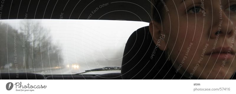 Woman Face Gray Sadness Rain Moody Fog Grief Driving Highway Boredom Human being