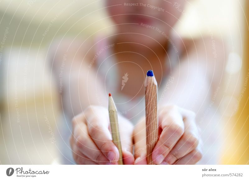 thick + thin Parenting Education Child School Study Schoolchild Student Human being Toddler Hand 1 Pen Crayon Stationery Fat Thin Blue Red Creativity Select