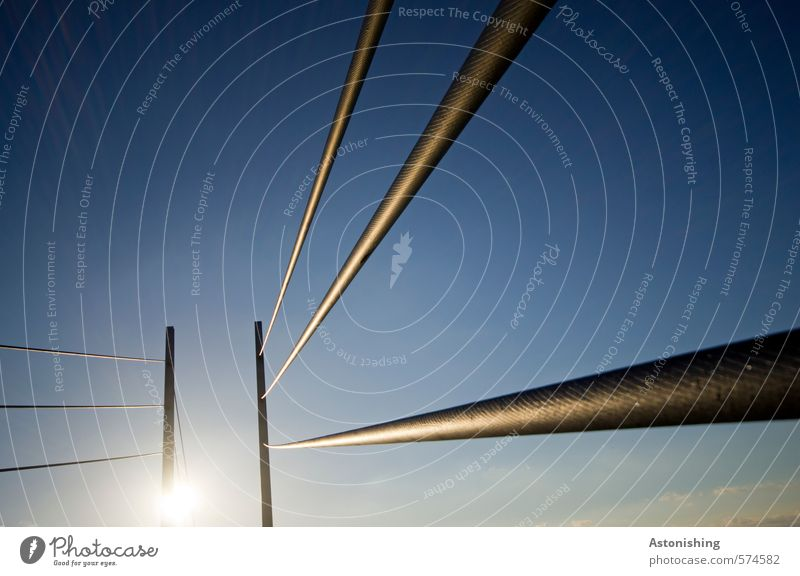 cord Cable Nature Sky Cloudless sky Sun Sunlight Weather Beautiful weather Bridge Metal Steel Thin Tall Long Blue Black Line Perspective Technology Colour photo