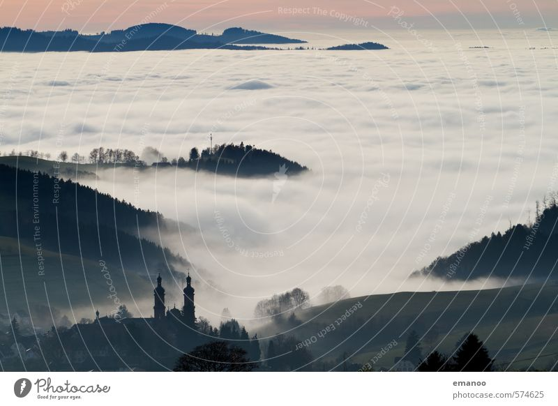 City above the clouds Vacation & Travel Tourism City trip Nature Landscape Sky Clouds Horizon Autumn Winter Climate Weather Fog Forest Hill Mountain Peak