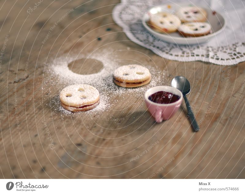Christmas & Advent Food Nutrition Sweet Cooking & Baking Candy Delicious Plate Baked goods Dough Cookie Embellish Spoon Wooden table Jam Christmas biscuit