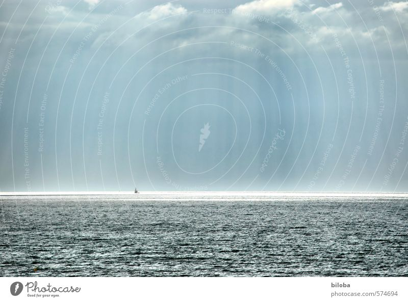 Blue Water Summer Ocean Landscape Far-off places Environment Gray Watercraft Horizon Elements North Sea Storm clouds