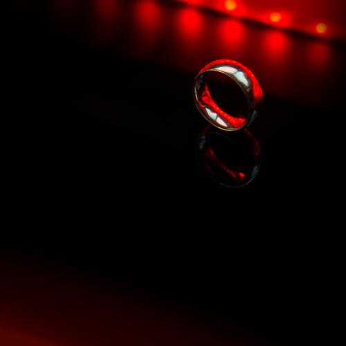 Red Black Dark Metal Glittering Elegant Contentment Glass Poverty Esthetic Round Mysterious Ring Relationship Silver Mystic