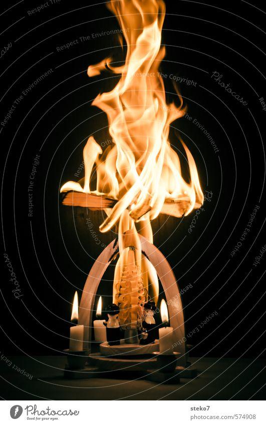 Advent, Advent the pyramid burns Christmas & Advent Fire Candle Wood Hot Crazy Trashy Disbelief Threat Destruction Christmas pyramid Flame Burn Infernal Blaze