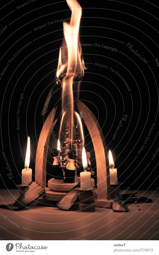 soon it will be over Fire Candle Wood Hot Trashy Dangerous Disaster End Adversity Transience Destruction Burn Burnt Christmas & Advent Christmas pyramid Flame