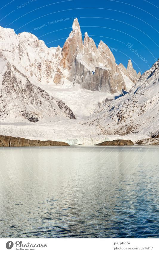 lake and cerro torre close up Sky Nature Vacation & Travel Water Summer Landscape Clouds Winter Far-off places Environment Mountain Snow Lake Rock Tourism