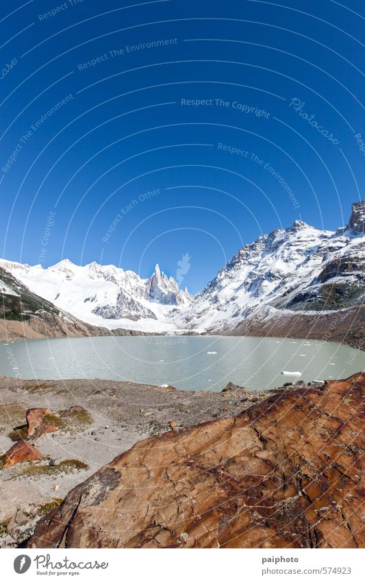 lake and cerro torre Sky Nature Vacation & Travel Water Summer Landscape Clouds Winter Far-off places Environment Mountain Snow Lake Rock Tourism Climate