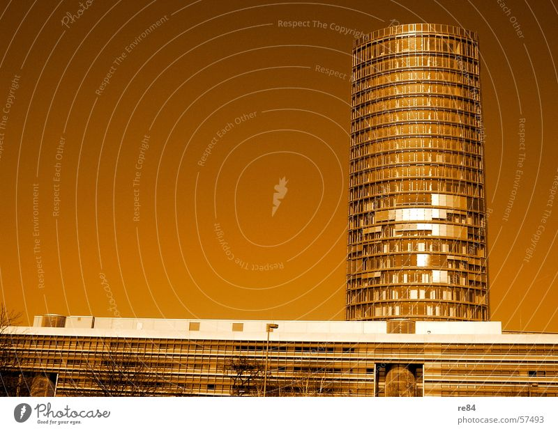 Sky City Building Brown Orange Glass High-rise Facade Modern Tower Luxury Cologne Steel Cologne-Deutz
