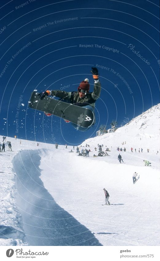 Winter Mountain Snow Style Sports Jump Tall Touch Alps Cloudless sky Ski resort Blue sky Snowboard Talented Halfpipe Snowboarding