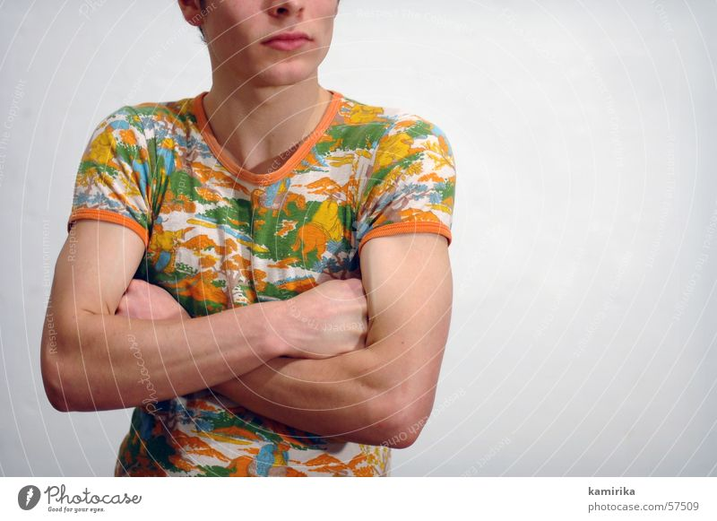 Man Wall (building) Style Wall (barrier) Fashion Arm T-shirt Shirt Wallpaper Hip & trendy Musculature Seventies Soap Catwalk
