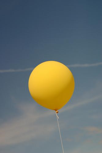 round and yet no soccer..... Balloon Yellow Clouds Stripe Vapor trail Air Sky Blue no football Flying Wind Sewing thread Contrast