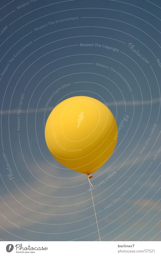 Sky Blue Clouds Yellow Air Wind Flying Ball Balloon Stripe Sewing thread Vapor trail