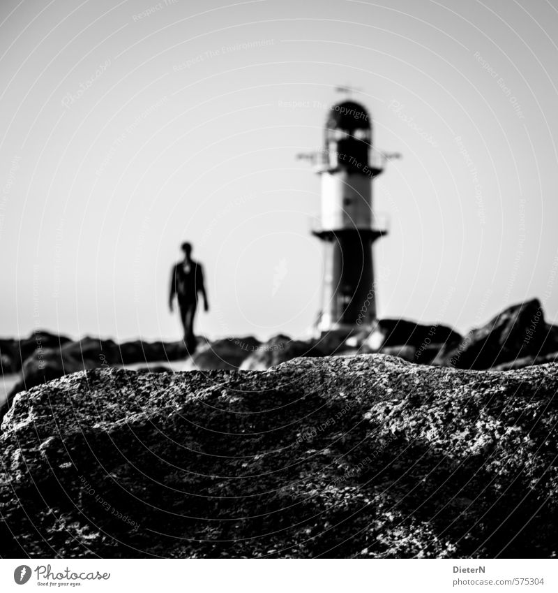 CATWALK Human being Body 1 Port City Outskirts Tower Lighthouse Manmade structures Architecture Landmark Walking Cold Gray Black White Black & white photo