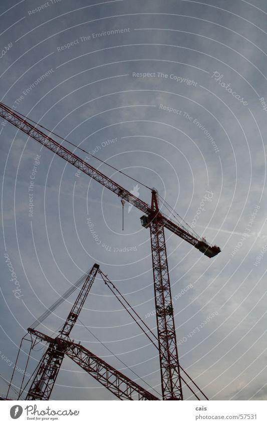 crane ballet Crane Construction site Clouds Red Crazy Blue Sky