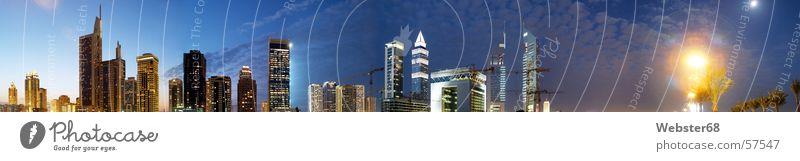 Night Blue Dark Window Stars Large High-rise Tall Desert Asia Build Panorama (Format) Dubai Near and Middle East United Arab Emirates