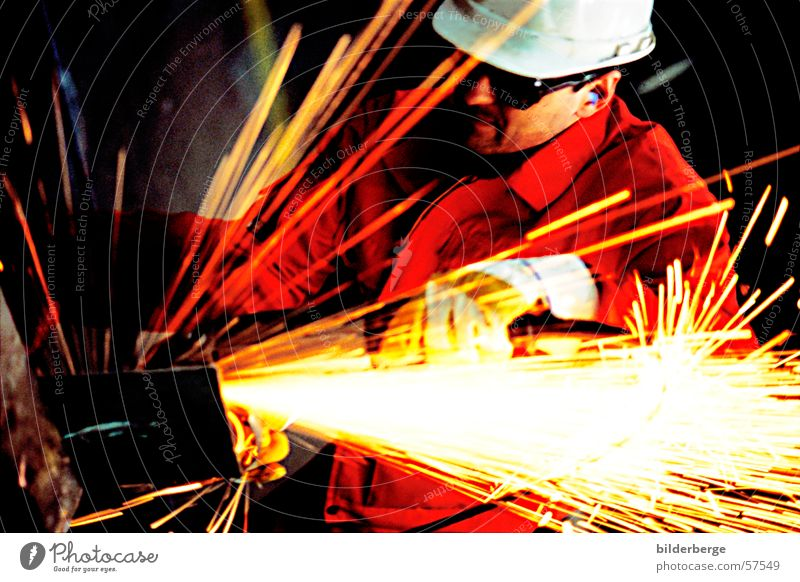 Red Yellow Work and employment Metal Blaze Industry Craft (trade) Employees & Colleagues Helmet Machinery Commerce Spark Scrap metal Welding
